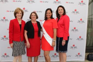 Ellen Komar/Stamford Health, Judy Campisi/American Heart Association, Christine Wayne/heart disease survivor, and Kathy Silard/Stamford Health attended the Westchester-Fairfield Go Red For Women Luncheon on June 2nd at the Hilton Westchester. Stamford Health was the local sponsor of the Go Red event.