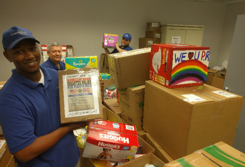 CareMount Medical employees package donated diapers for Hurricane Maria efforts
