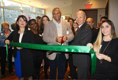 From left, director of operations Mika Hori, Tarrytown's Deputy Mayor Thomas Butler, general manager Lloyd Nakano and sales and public relations coordinator Chelsea Kirstein cut the ribbon at the rebranded Sankara Spa.